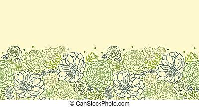 planterar, saftig, mönster, seamless, grön, horisontal, gräns