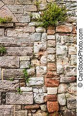 planterar, vägg, gammal, medeltida, höjande