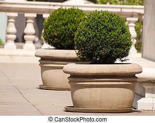 Precast planters.