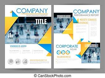 plantilla, anual, diseño, presentación, informe