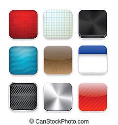 plantilla, app, cuadrado, moderno, icons.