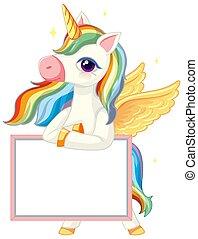 plantilla, bandera, blanco, tenencia, lindo, unicornio