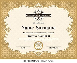 plantilla, certificado, vendimia, marco, retro, plano de...