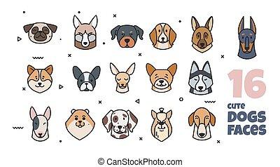 plantilla, diseño, razas, dogs., diferente, etiqueta