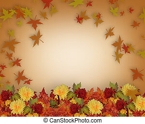 plantilla, frontera, otoño