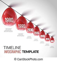 plantilla, infographic, realista, timeline, globos, rojo