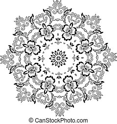 plantilla, mandala, diseño, indio