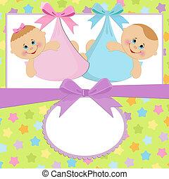 plantilla, para, bebé, postal