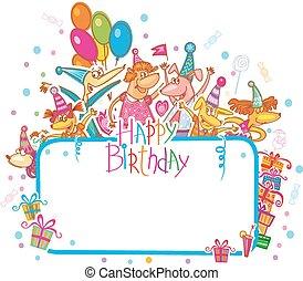 plantilla, para, feliz cumpleaños, tarjeta, con, lugar, para, texto