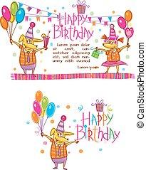 plantilla, para, feliz cumpleaños, tarjetas