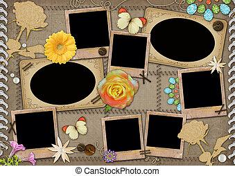 plantilla, photo., collage