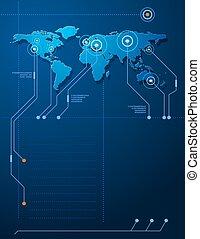 plantilla, techno, mapa del mundo, concepto