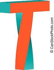 plantilla, torcido, elemento, diseño, t, carta, logotipo, ...