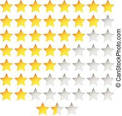 plantilla, vector, estrellas, grupo, clasificación, estrella