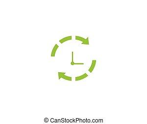 plantilla, vector, reloj, icono