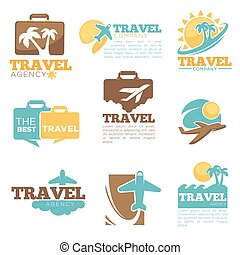 plantillas, agencia de viajes, onda, vector, palma, avión,...