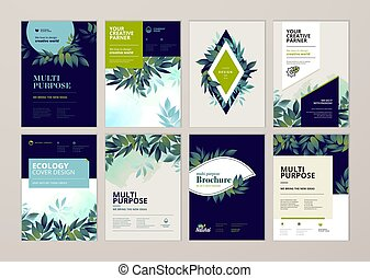 plantillas, anual, diseño, cubierta, productos, ambiente, folleto, orgánico, naturaleza, conjunto, informe, tema