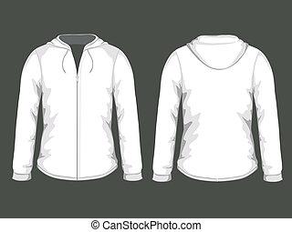 plantillas, blanco, vector, hoodie