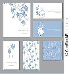 plantillas, bluebells, lindo, floral, ramos