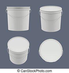 plantillas, buckets., yogur, cubos, construcción, ...