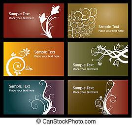 plantillas, colorido, tarjeta comercial, seis