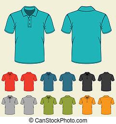 plantillas, conjunto, coloreado, men., camisas, polo