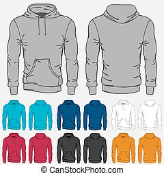 plantillas, conjunto, hoodies, coloreado, hombres