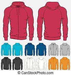 plantillas, conjunto, hoodies, coloreado, hombres