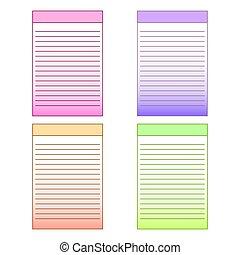 plantillas, conjunto, notepad., gráficos, vector, multicolor, página