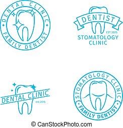 plantillas, logotipo, dental, clínica, línea
