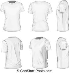 plantillas, manga corta, hombres, camiseta, diseño, blanco