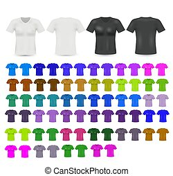 plantillas, men., conjunto, coloreado, camisetas