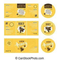 plantillas, miel, conjunto, etiqueta