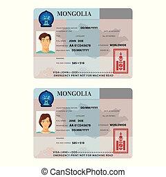 plantillas, pegatina, visa, mongolia, pasaporte