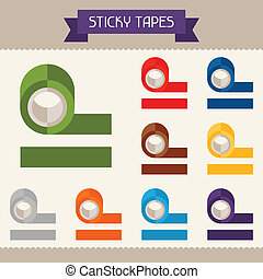 plantillas, plano, su, coloreado, cintas, pegajoso, diseño, style.