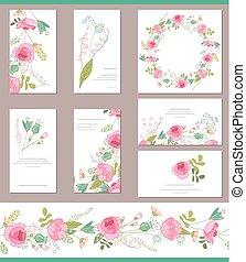 plantillas, rosas, lindo, floral, rojo, ramos