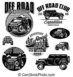 plantillas, suvs, logotipos, club, off-road, vector, deporte