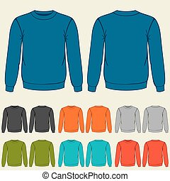 plantillas, sweatshirts, conjunto, coloreado, hombres