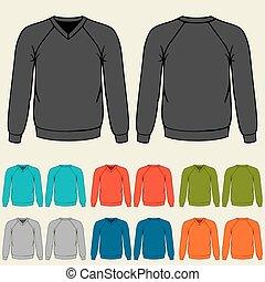 plantillas, sweatshirts, conjunto, coloreado, hombres