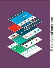 plantillas, tela, isométrico, concepto, sitio, diseño
