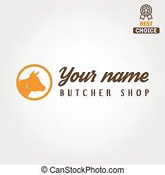 plantillas, tienda, emblema, carne, insignia, vendimia, ...