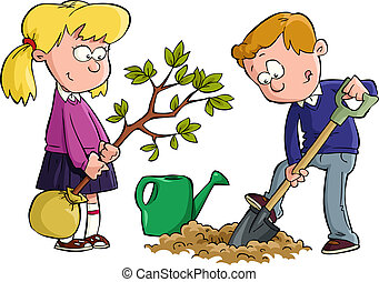Planting a tree - The children planted a tree vector...