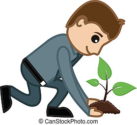 Planting a Tree Vector Concept
