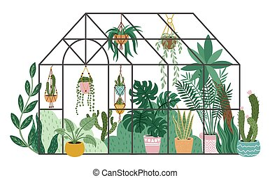 Planting greenhouse. Glass orangery, botanical garden ...