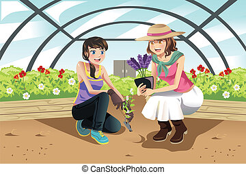 Planting in greenhouse - A vector illustration of happy ...