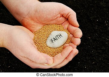"""A religious concept photo that uses mustard seeds and an engraved faith stone held over soil, to illustrate an idea of """"planting seeds of faith""""."""