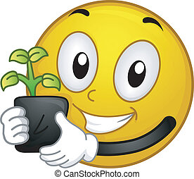 Planting Smiley - Illustration of a Smiley Holding a...
