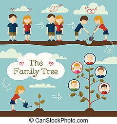 Young couple planting the family tree. Flat design concept