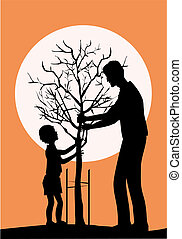 Father and little son planring tree