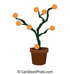 plantpot with coins money business concept